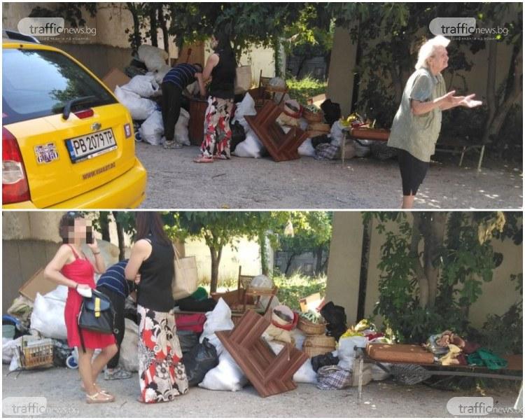 Изхвърлената Олга пак е на улицата с багажа, превърнали новата квартира в бунище