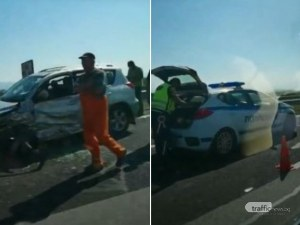 Бус и кола са се ударили на АМ Тракия, лявата лента е блокирана