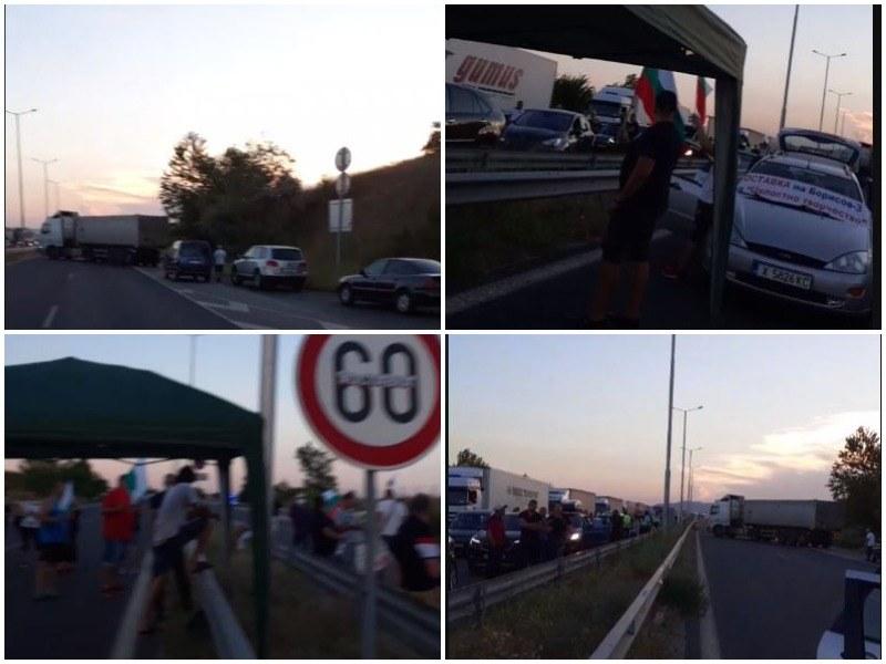 """Протестиращи блокираха АМ """"Марица"""" край Капитан Андреево"""
