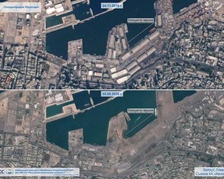 Опустошението на Бейрут, видяно от Космоса