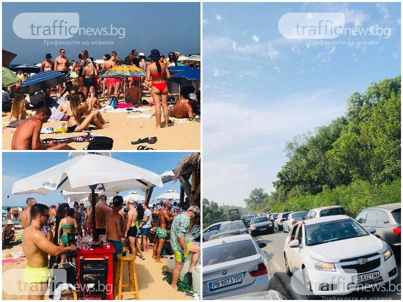 """Стълпотворение на """"Градина""""! Летуващи задръстиха плажа, тапи от коли край къмпинга"""