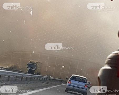 Пожар край Пловдив! Гъст дим покри АМ