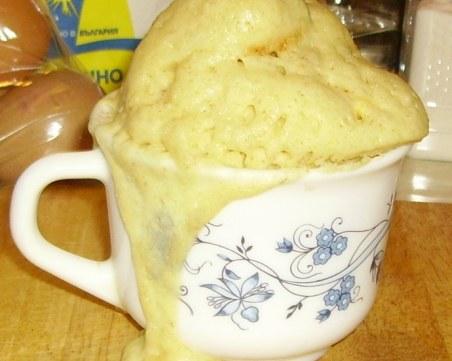 Бърз 3-минутен кекс в чаша за микровълнова