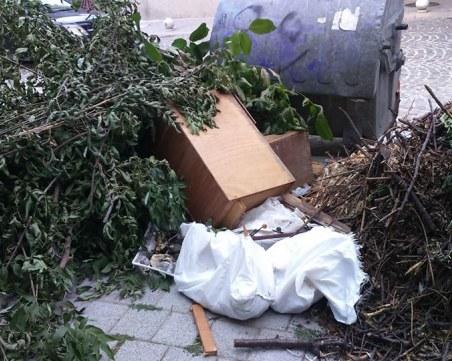 Бунище в центъра на Пловдив: кофите за смет - празни, около тях - пълно с отпадъци