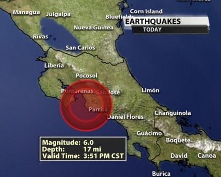 Земетресение с магнитут 6 по Рихтер разтърси Коста Рика