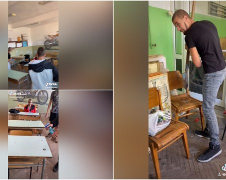 Вандалски прояви в училище, младежи къртят и палят мебели в класната стая
