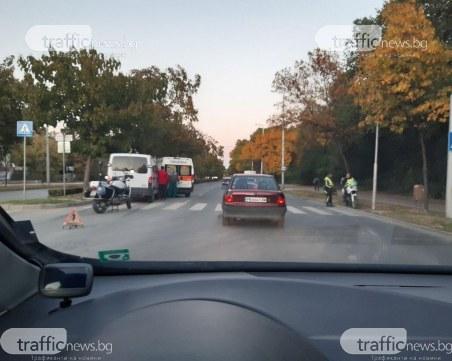 Микробус и линейка се удариха в Пловдив, на място има полиция