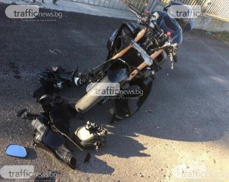 Моторист е ранен, след като Пежо без стоп светлини спря рязко на Пазарджишко шосе