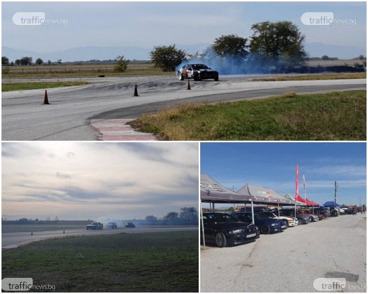 Адреналин на макс: Мощни БМВ-та мерят сили край Пловдив, 10 пилота дрифтират повече от час