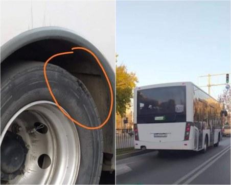Опасно: Автобус в Пловдив вози с разпадащи се гуми