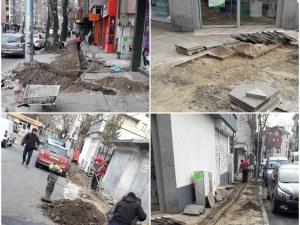 Кабеларка разкопава без разрешение тротоара на централен пловдивски булевард