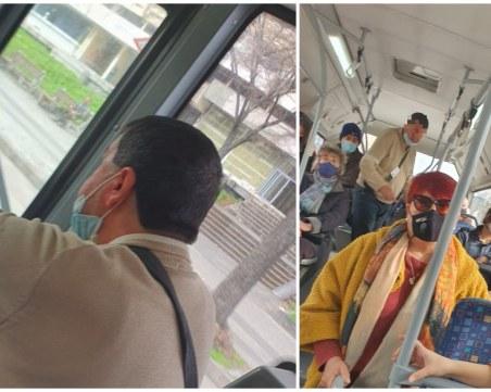 Безотговорно отношение: кондуктор и пътници без маски в градския транспорт в Пловдив