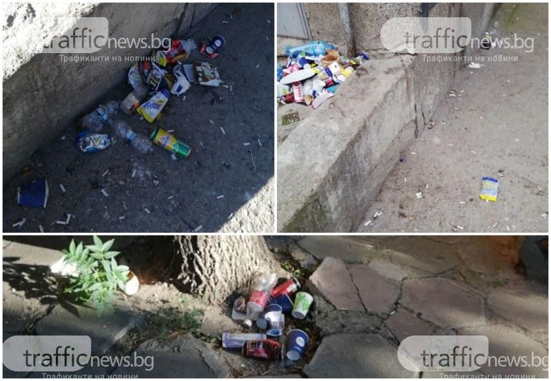 Районът около Спортното  в Пловдив − затрупан от боклуци, от квартала винят учениците