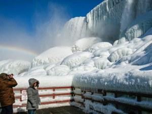 Полярният студ в САЩ замрази Ниагарския водопад