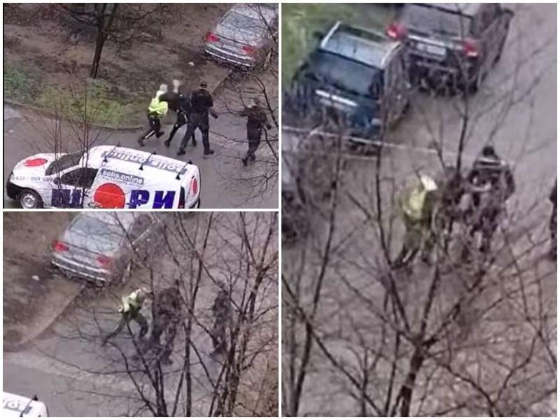 Полицаи налагат с палки и ритници арестувания мъж в Казанлък след гонката