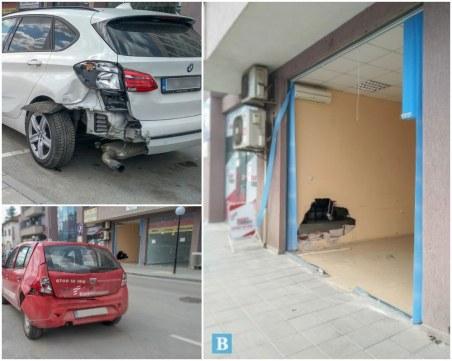 Издирват шофьора от среднощното меле в Панагюрище, три коли и витрини са потрошени
