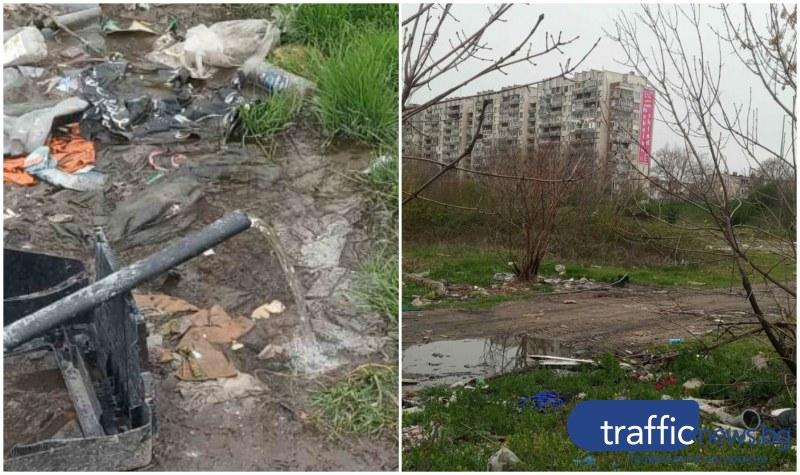 Литри питейна вода се изливат от незаконен маркуч в Харман Махала, роми се къпят на аванта
