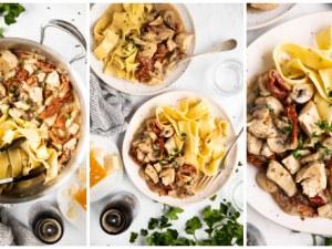 Бърза, кремообразна паста с пиле и сушени домати