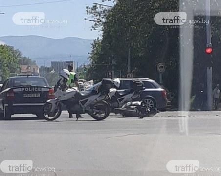 Моторист е в болница след катастрофа на пловдивско кръстовище