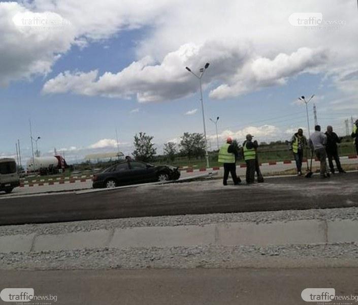 Ауди самокатастрофира на пътя Пловдив-Асеновград