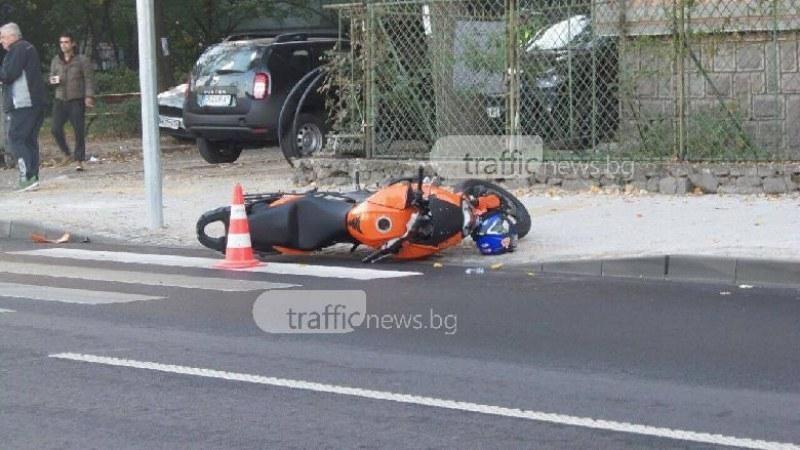 Моторист пострада при катастрофа край Пловдив! Блъснал се в дърво