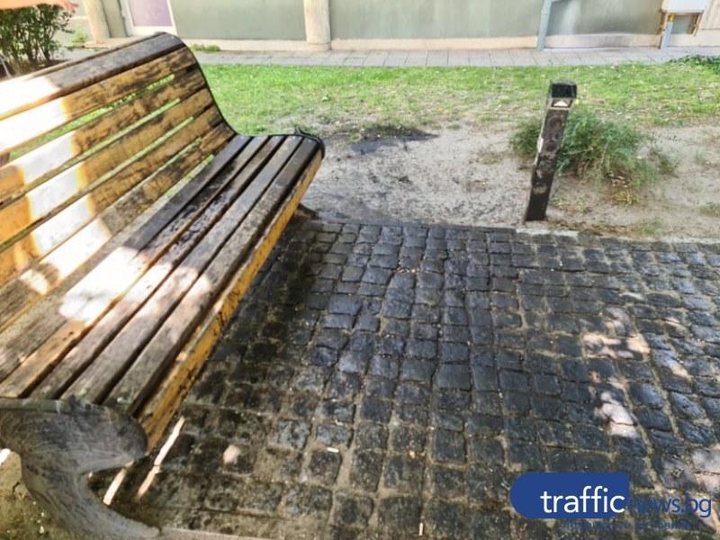 В столицата на културата: Съседи заляха с машинно масло пейка шедьовър