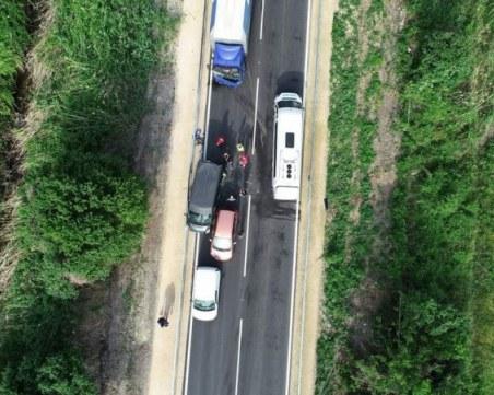 Катастрофа с четири коли парализира движението на Околовръстното на новия участък