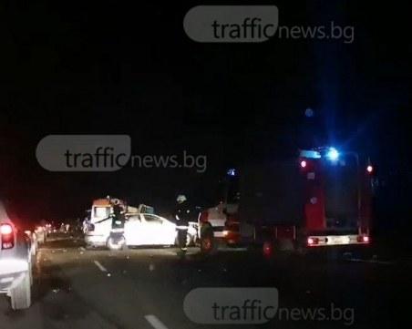 """Един загинал и трима ранени  в тежка катастрофа на АМ """"Тракия"""" към Бургас"""