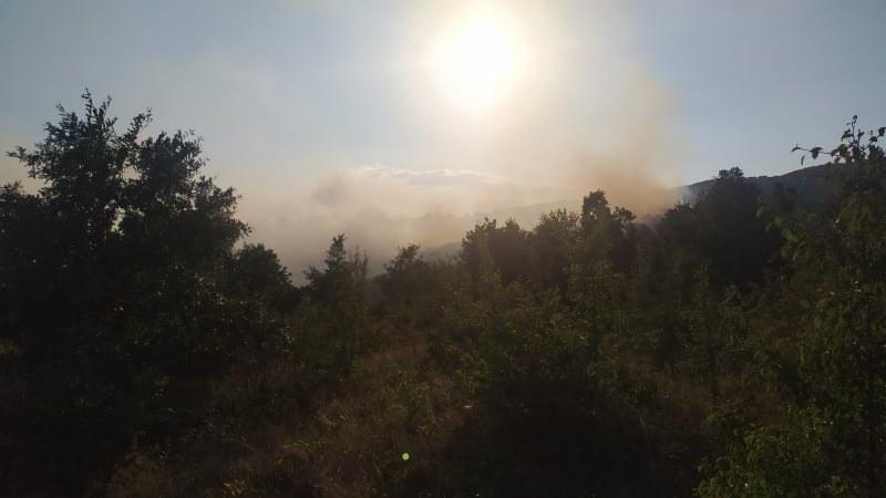 Голям горски пожар в Хисарско! Шест екипа огнеборци гасят пламъците