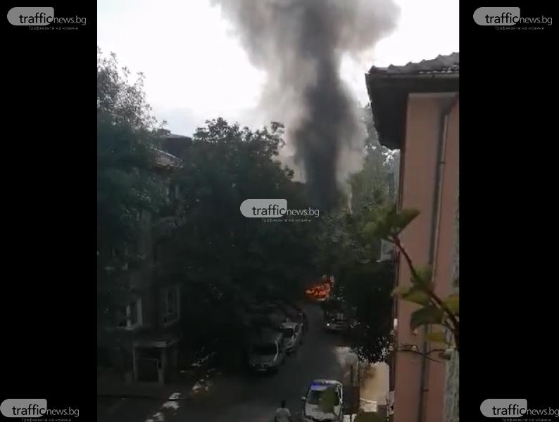 Кола изгоря в центъра на Пловдив