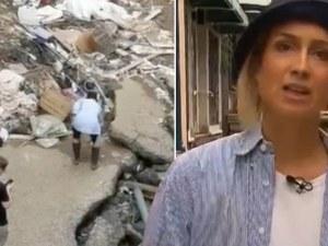 Германска репортерка се мазала с кал преди отразяване на наводненията