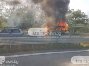 Бус се преобърна и запали след удар с камион край Пловдив