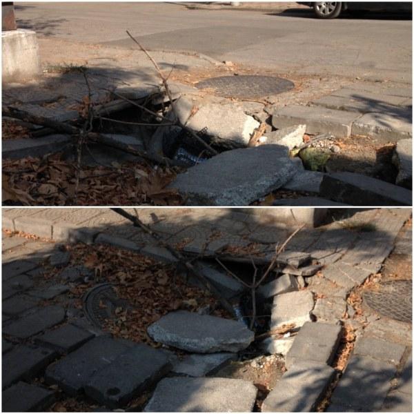 Малка дупка, която се превърна в огромна яма, застрашава пешеходци и коли в