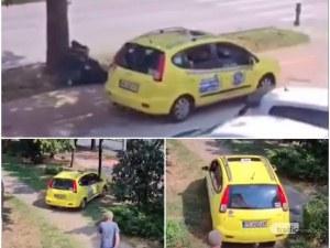Такси със серия нарушения в центъра на Пловдив, лавира между храсти и дървета