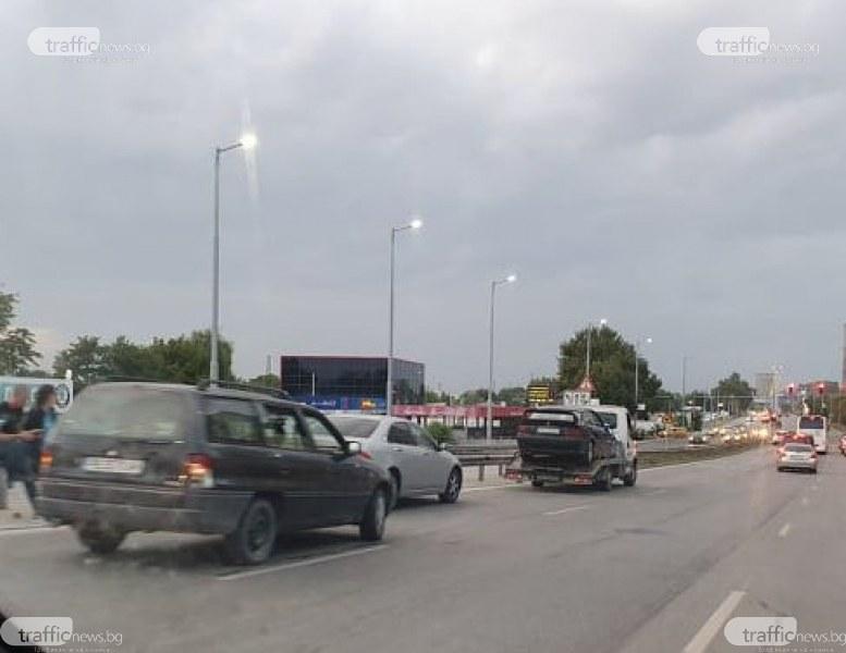 Верижна катастрофа на Карловско шосе затрудни трафика