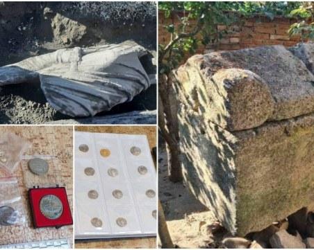 Антична статуя и мраморен саркофаг открити при акция на МВР