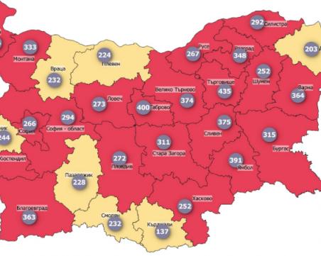 Заболеваемостта от COVID-19 пак тръгна нагоре, 21 области вече са в червено